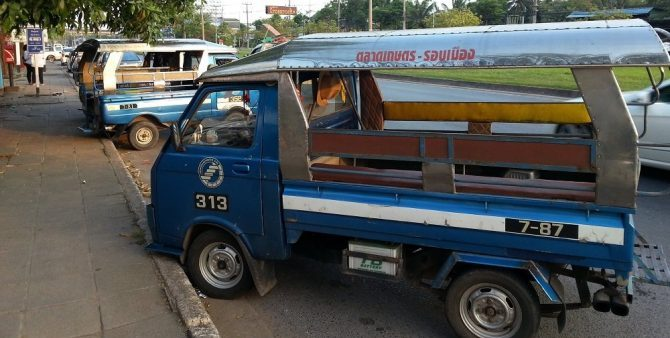 Small vans are the main form of Public Transport in Surat Thani