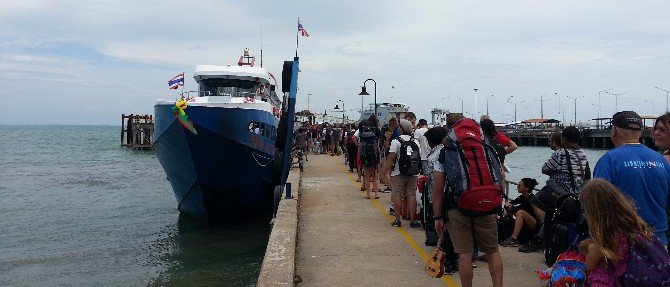Passengers waiting to board the Songserm Ferry at Na Thon Pier