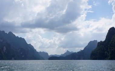 View across Cheow Larn Lake in Khao Sok National Park
