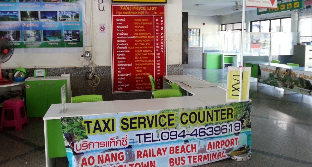 Taxi counter at Klong Jilad Pier