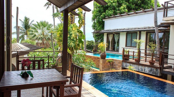 Pool villas at the Sasitara Residence