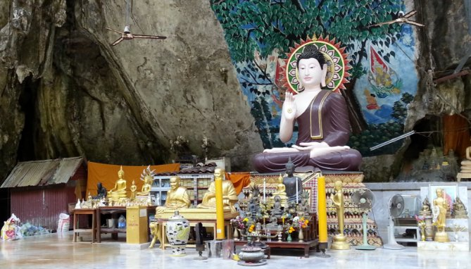Shrine in cave at Wat Tham Suea