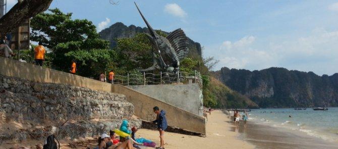 Sailfish sculpture on Ao Nang Beach