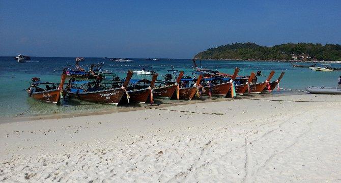 Longtail boats on Pattaya Beach