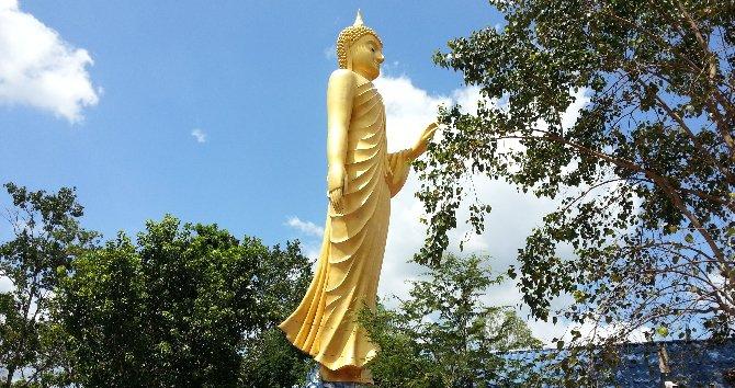 Golden Buddha statue at the entrance to Wat Kham Chanot