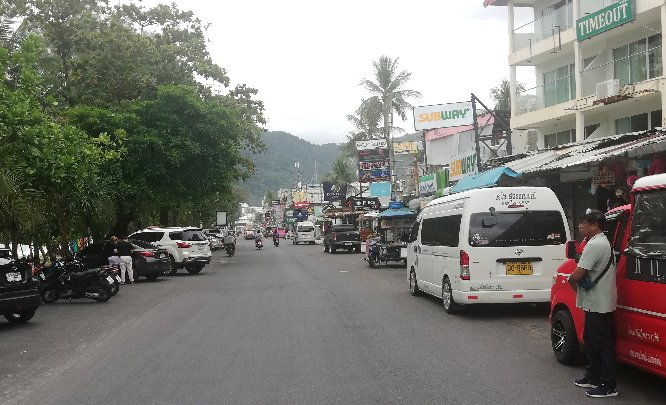 The busy road which runs along Patong Beach